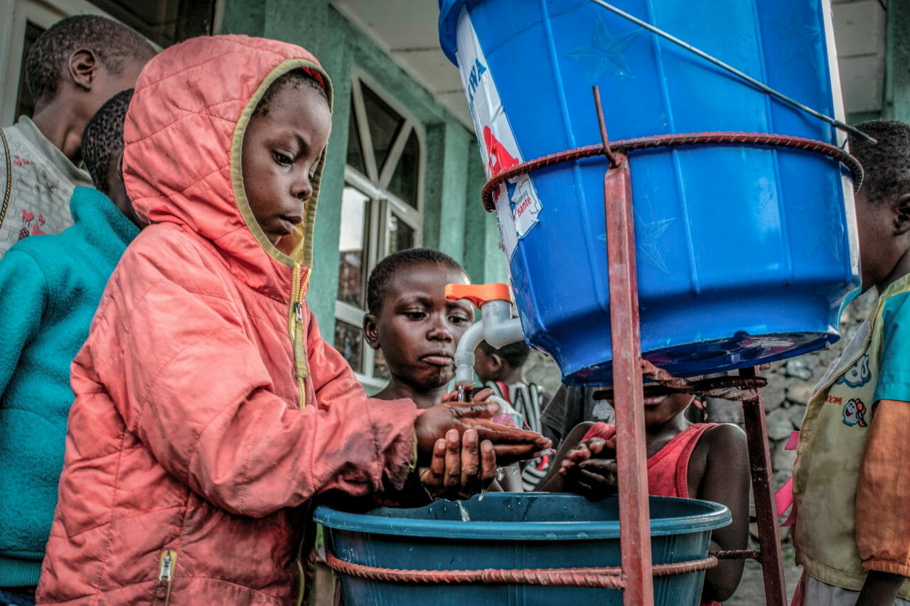 Goma, Democratic Republic of Congo, early April 2020. Three days after the first case of COVID-19 was confirmed in Congo's eastern city, children wash their hands at an orphanage. © Arlette Bashizi for Fondation Carmignac
