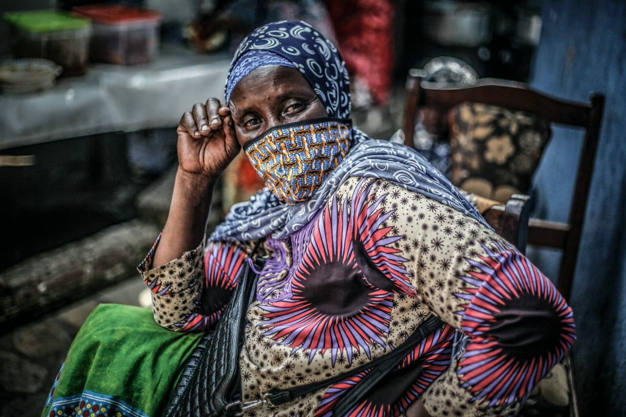 Goma, DRC, 2020. Sauda Pelaji, a member of an association of muslim women that helps young members of her community gain access to education, in Goma during Ramadan. © Ley Uwera for Fondation Carmignac