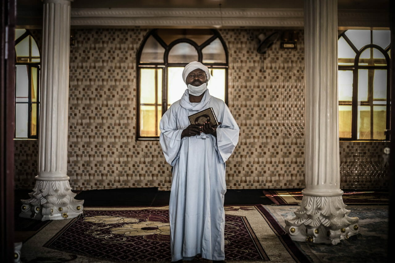 Goma, DRC, 2020. Imam Al Haj Hassim Moussa, head of the Haji Wawa mosque in Goma. © Ley Uwera for Fondation Carmignac